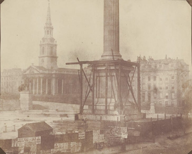 1844 - Nelson's Column under Construction, Trafalgar Square, London - 1