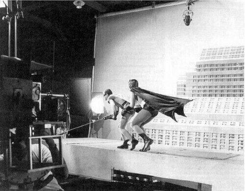 Adam West and Burt Ward filming the original Batman series in 1966
