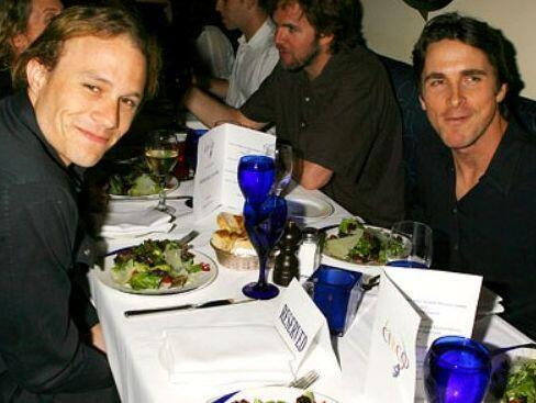 Heath Ledger and Christian Bale during filming of The Dark Knight in 2007