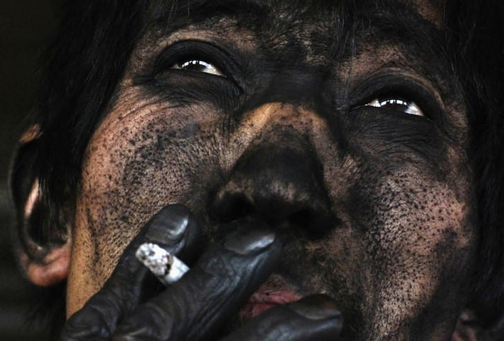 The face of a Chinese coal miner