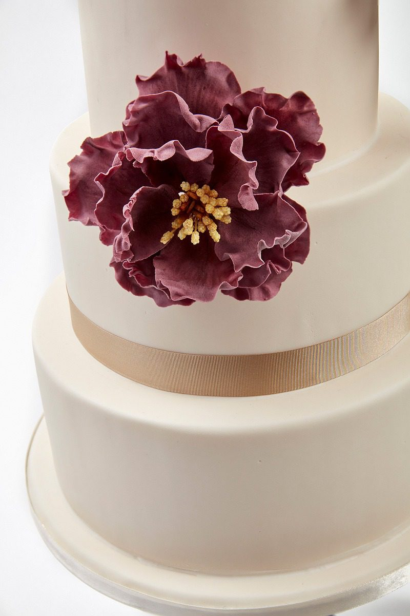 Burgundy Peonies w/ White & Ivory Roses | Clare Anne Taylor Couture Cakes
