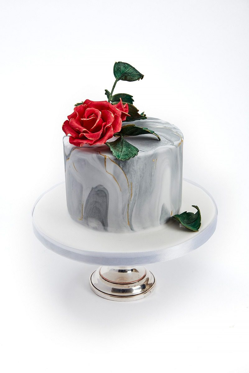 Deep Red Rose on Marble | Clare Anne Taylor Couture Cakes
