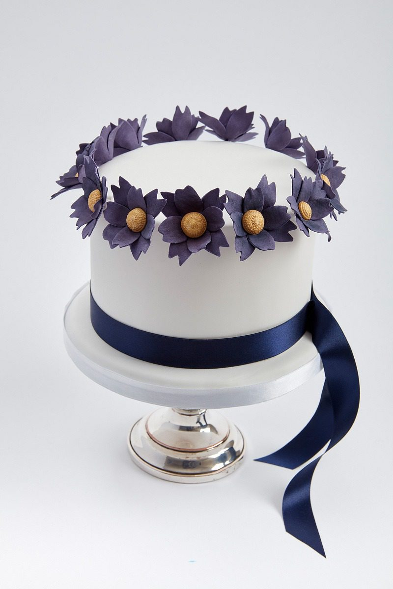 Navy Dogwood & Sash | Clare Anne Taylor Couture Cakes