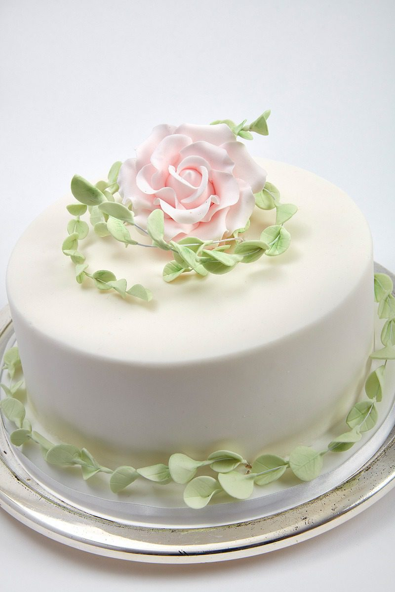 Pale Pink Rose & Eucalyptus   Clare Anne Taylor Couture Cakes